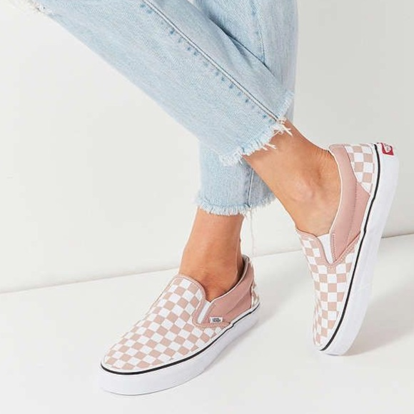 NWT Vans pink checkered slip ons 7782d656f